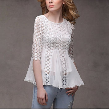 White  Chiffon Blouse vintage lace blouse women blouse fashion shirt blouse long sleeve shirt--TP043