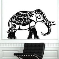 Elephant Wall Stickers Decals Indian Pattern Decal Vinyl Room Decor Home Interior Design Murals Bedroom Window Art Ah151