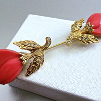 Floral Double Head Coral Thermoset Rhinestone Stick Pin, Art Deco, Vintage