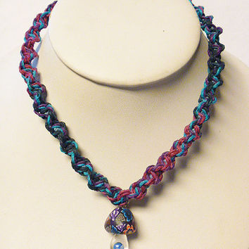 Double Purple Haze  Hemp Necklace with Fimo Glass Mushroom handmade macrame jewelry    hippie  unisex