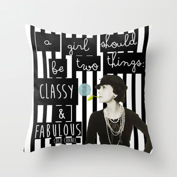 Classic, Coco Chanel, throw pillow, toss pillow, dorm decor, quote pillow, decorative pillow, teen bedding, couch pillow