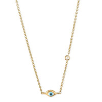 14k Gold Mini Evil Eye Necklace with Diamond - Sydney Evan - Gold (14k)