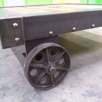 Industrial French Dolly Cart Vintage Coffee Table