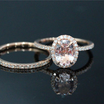 2 Pcs 6x8mm Morganite Ring Set and 14k from DofLove on Etsy