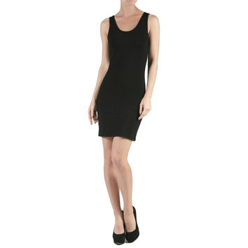 New Solid Sleeveless Scoop Neck Stretch Bodycon Mini Dress Size S M L AB1745