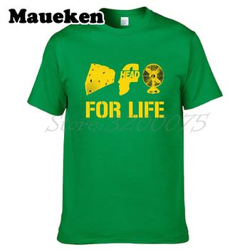Men Green Bay CHEESE HEAD FAN FOR LIFE Aaron Rodgers T-shirt Clothes T Shirt Men's tshirt for Packers fans gift tee W17110978