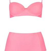 Textured Longline Bikini Set