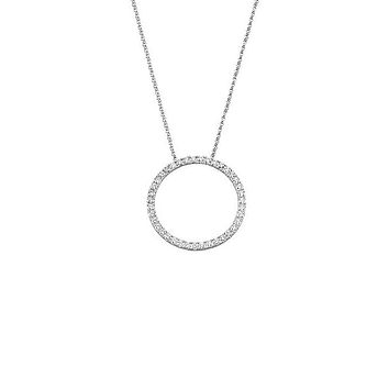 26mm 1 Cttw Diamond Circle Necklace in 14k White Gold, 18 Inch