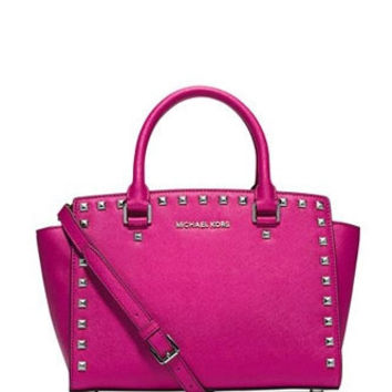 Michael Michael Kors Medium Studded Selma Saffiano Satchel