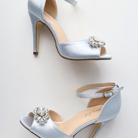 Bethany Silver Satin Rhinestone Ankle Strap Pumps