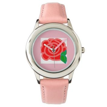 pink watch with a pink rose