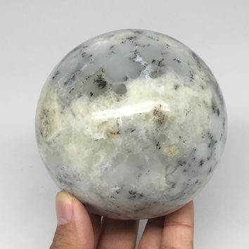 "880g, 3.5"" (90mm) Agate Fern Sphere Gemstone, Healing Crystal @Madagascar,B01"