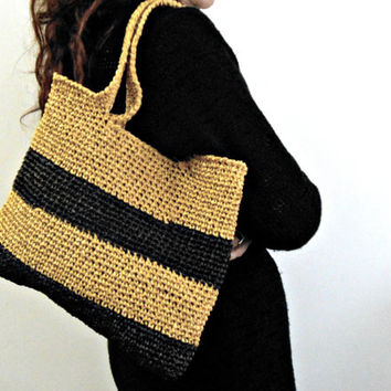 Raffia shopping bag, block colors shoulder bag, crochet tote bag brown and yellow by cosediisa