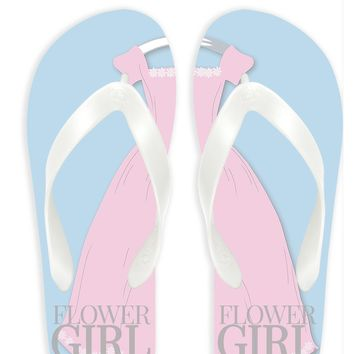 Flower Girl with Blue Background Flip Flops