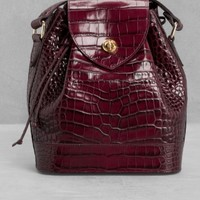 & Other Stories | Drawstring Leather Bag | Dark Red