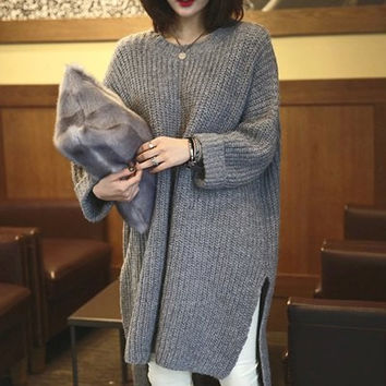 Gray Double Slit Long Sleeve High-Low Sweater Dress