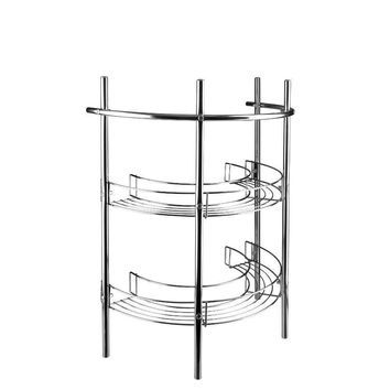 Pedestal Storage Unit in Chrome with Semicircular Wire Racks and Towel Bar