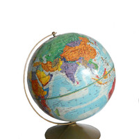 Vintage World Globe Replogle 12 Inch World Nation Series Raised Relief Blue Tone