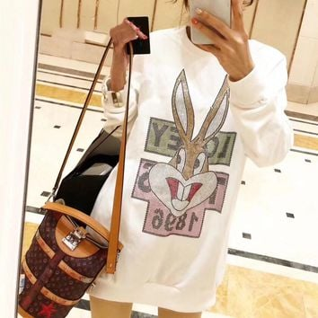 """Gucci"" Women Casual Fashion Rhinestone Rabbit Letter Long Sleeve Sweater Tops"