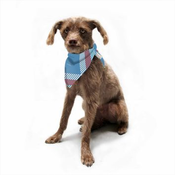 "Kess Original ""Sky Blue And Red Plaid"" Blue Red Pattern Digital Pet Bandana"
