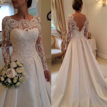LMFIH3 Fashion new lace long sleeves hollow back wedding dress white dress retro tail wedding dress Slim thin