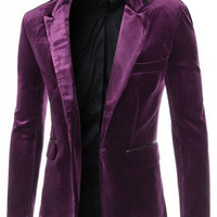 Pocket Design Lapel Long Sleeve Corduroy Blazer