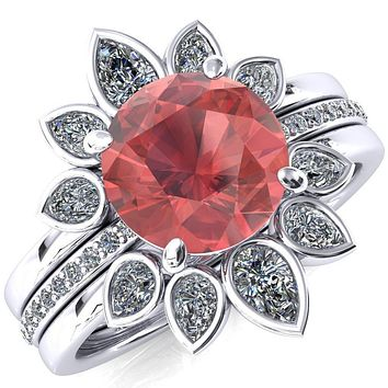Flora Round Lab-Created Padparadscha Sapphire 1/2 Eternity Accent Diamond Ring