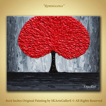 Original Painting, Red tree Modern art, Red Grey Canvas art, Red wall painting, Grey red decor, Red painting 8x10 Canvas, Textured red tree