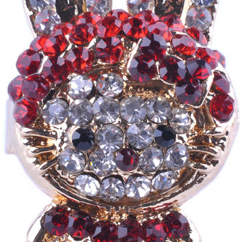 Gold Plated Red Rhinestone Rabbit Ring