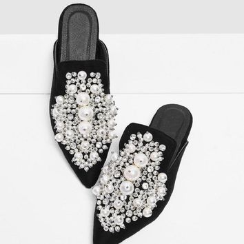 Faux Pearl Decorated Sandals