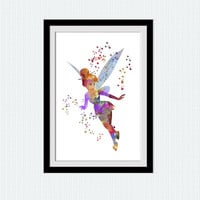 Peter Pan poster Thinker Bell watercolor art print Disney art decor Disney print Home decoration Kids room decor Nursery room art  W532