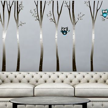 "Wall Decals Birch Tree Vinyl Sticker Owls Birds Decal Baby Whimsical Owls Full Color Nursery Decorations Bedroom Art Design Interior NS2015 (22"" Tall x 38"" Wide)"