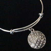 Crystal Volleyball Charm Silver Expandable charm Bracelet Wire Bangle Sports Team Coach Gift Adjustable