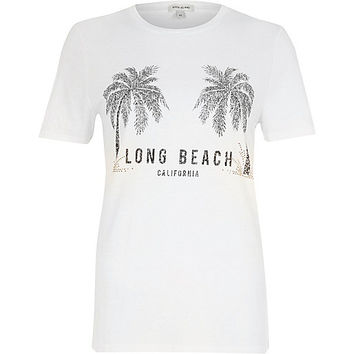 White 'long beach' palm tree print T-shirt - print t-shirts / tanks - t shirts / tanks - tops - women