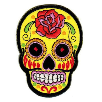 1 X Mexican Sugar Skull Tattoo Biker Sew-on Iron-on Patches Embroidered Applique Dia De Los Muertos