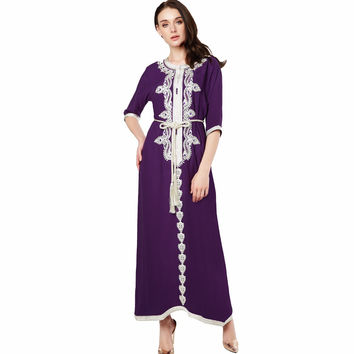 Muslim women Long sleeve Dubai Dress maxi abaya jalabiya islamic clothing robe Moroccan embroidery dress 1715