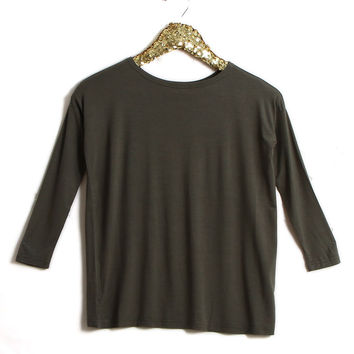 Piko Girl Scoop Neck Long Sleeve Shirt in Army G1851-ARMY