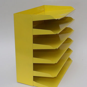Desk Office Organizer Mail Sorter Letter Holder Yellow  Decor Inbox Bill Slot File Box Metal Desktop Filing System Home Business Vintage