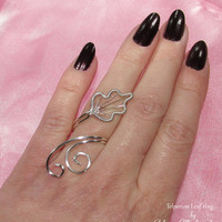 Telperion Leaf Ring, LOTR rings, Elf jewelry, wire ring, adjustable ring,Tolkien inspired, Cosplay jewelry