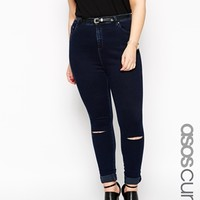 ASOS CURVE Ridley Skinny Jean in Sapphire Dark Wash with Busted Knees