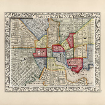 Antique Map of Baltimore, Maryland (1863) - Archival Reproduction