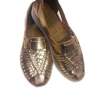 Mexican Leather Sandals Gold