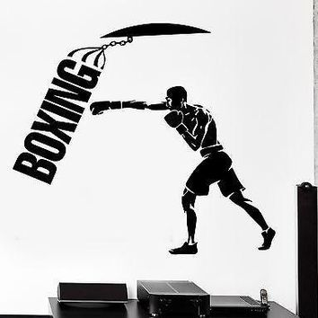 Wall Sticker Sport Boxing Punching Bag Martial Arts Vinyl Decal Unique Gift (z3009)