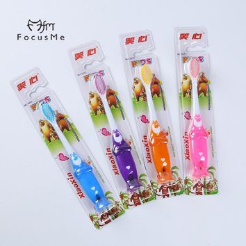 FM Cute Bear Children Toothbrush With Suction Cup Superfine Soft Hair Care Gingival Baby Kids Toothbrush