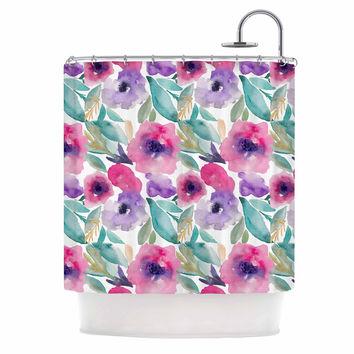 "Li Zamperini ""Floralia"" Multicolor Pink Watercolor Floral Shower Curtain"