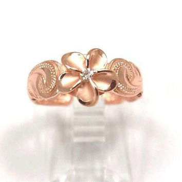 PINK ROSE SILVER 925 HAWAIIAN PLUMERIA FLOWER HAND ENGRAVED SCROLL TOE RING