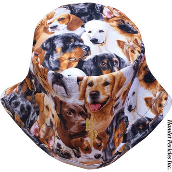 Dogs Allover Unisex Bucket Hat | Dog Hat | Dogs | Rotttweiler | Terrier | Poodle | Brown Hat | Beagle | Animal Print by HamletPericles
