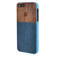 Wood Faux Denim Case iPhone 5 Case Framed Blue