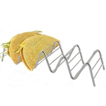 2 Pieces Stainless Steel Taco Stand Wavy Mexican Taco Holder Tortilla Racks