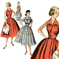 1950s Dress Pattern Bust 30 Simplicity 4249 Day or Evening Full Skirt Midriff Wing Collar Halter Dress Bolero Womens Vintage Sewing Patterns